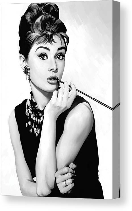 Audrey Hepburn Paintings Canvas Print featuring the painting Audrey Hepburn Artwork by Sheraz A