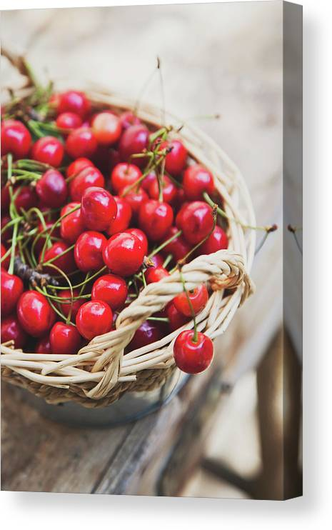 Cherry Canvas Print featuring the photograph Basket Of Cherries by © Emoke Szabo