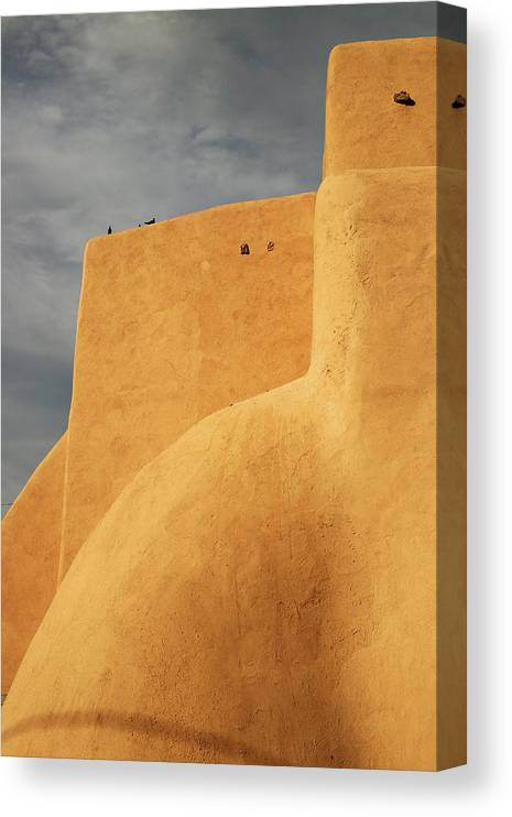 Built Structure Canvas Print featuring the photograph Birds Perched On A Yellow Building by Win-initiative