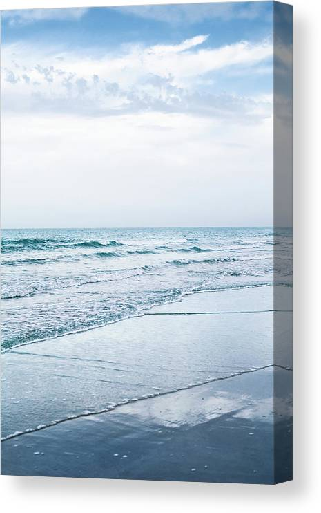 Water's Edge Canvas Print featuring the photograph Blue Beach by Anneleven