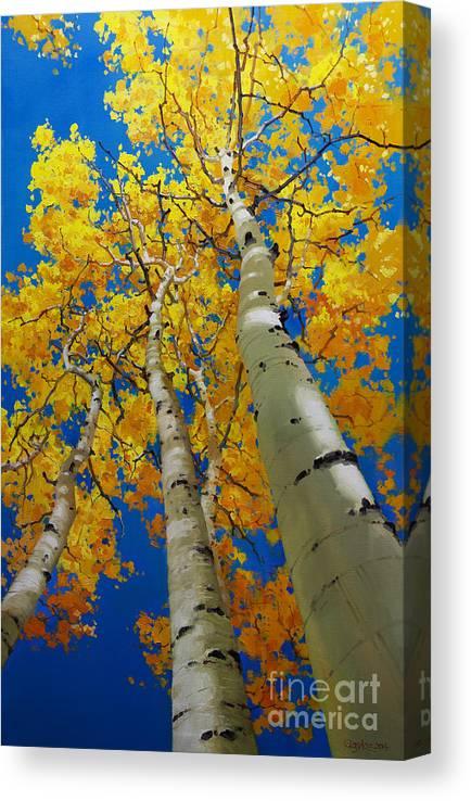 Blue Sky And Tall Aspen Trees Canvas Print featuring the painting Blue Sky and Tall Aspen Trees by Gary Kim