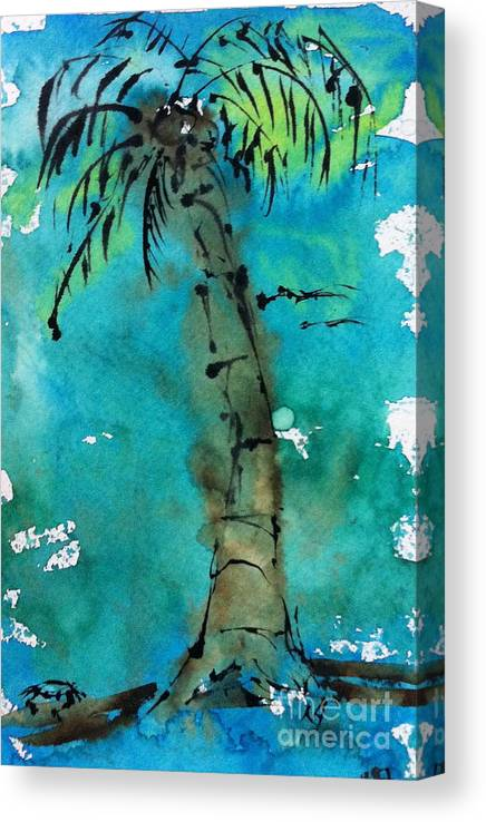 Watercolor Canvas Print featuring the painting Blue Sky Palm by Norma Gafford