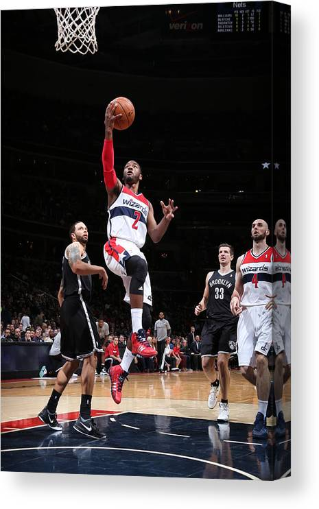Nba Pro Basketball Canvas Print featuring the photograph Brooklyn Nets V Washington Wizards by Ned Dishman