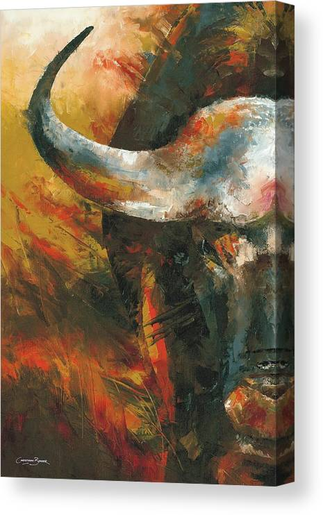 Cape Canvas Print featuring the painting Cape Buffalo by Christiaan Bekker