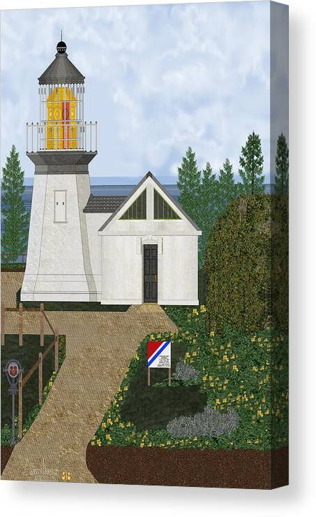 Cape Meares Lighthouse Canvas Print featuring the painting Cape Meares Lighthouse April 2013 by Anne Norskog