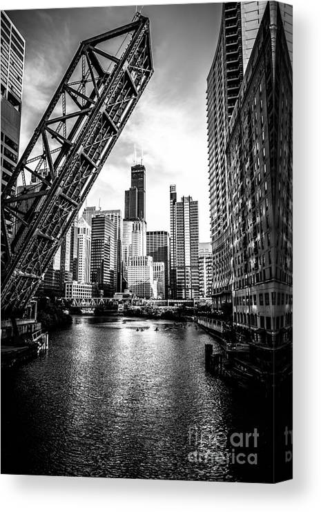 America Canvas Print featuring the photograph Chicago Kinzie Street Bridge Black and White Picture by Paul Velgos
