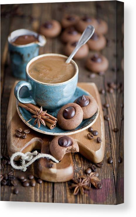 Temptation Canvas Print featuring the photograph Coffee And Cookies by Verdina Anna