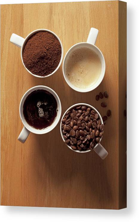 Shadow Canvas Print featuring the photograph Cups Of Coffee And Coffee Beans by Larry Washburn