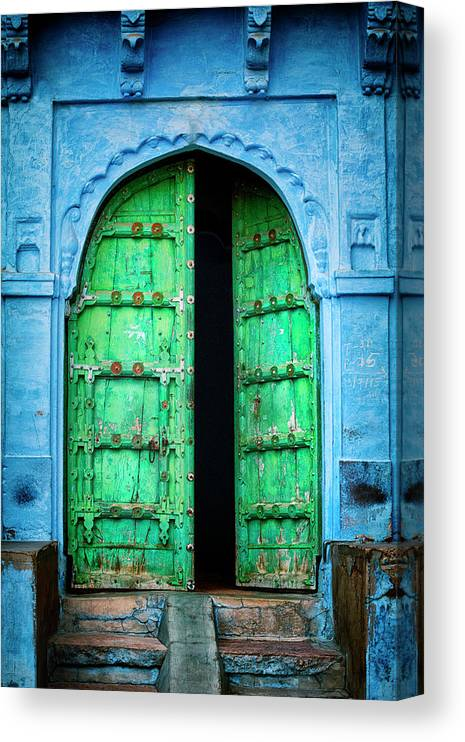 Architectural Feature Canvas Print featuring the photograph Door In The Blue City - Jodhpur, India by Powerofforever