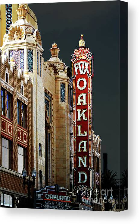 Wingsdomain Canvas Print featuring the photograph Fox Theater . Oakland California by Wingsdomain Art and Photography