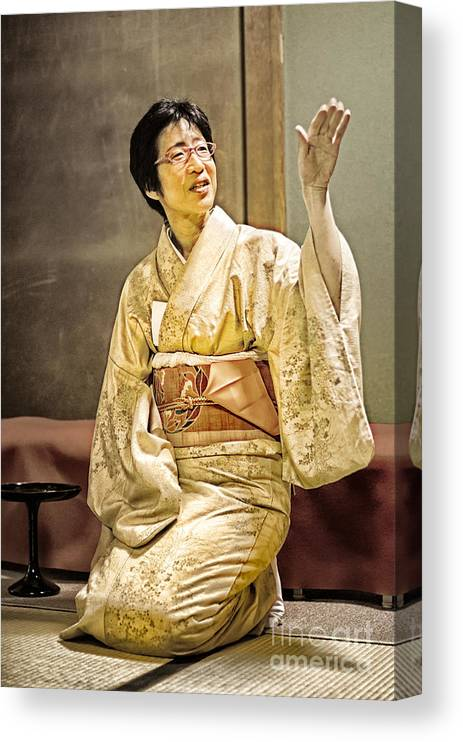 Golden Glow Japanese Lady In Traditional Kimono Explains The Tea Ceremony Canvas Print Canvas Art By David Hill