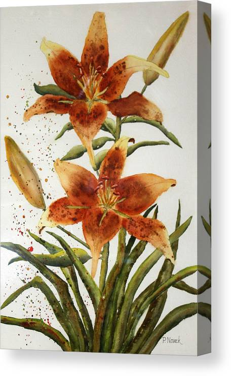 Lilies Canvas Print featuring the painting Golden Lilies by Patricia Novack
