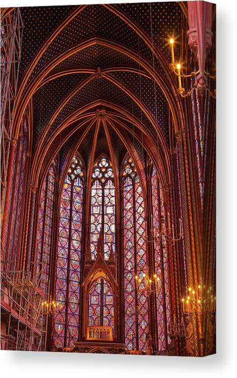 Gothic Style Canvas Print featuring the photograph Gothic Architecture Inside Sainte by Julian Elliott Photography