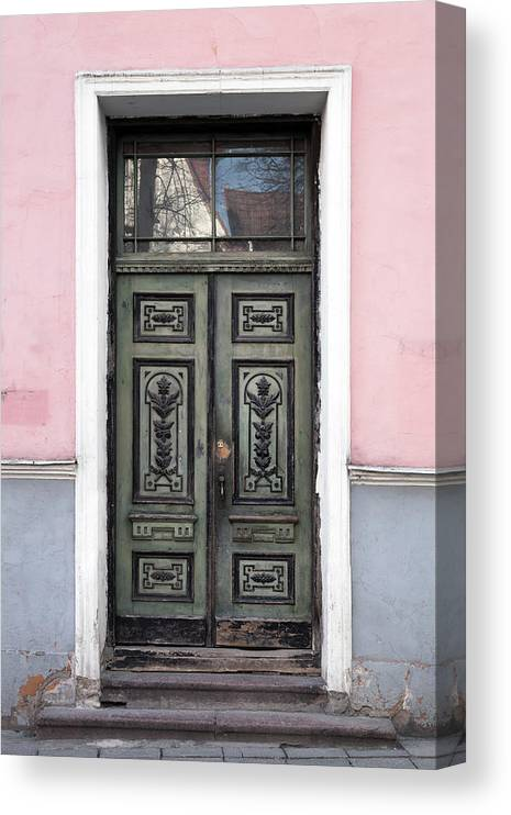 Rectangle Canvas Print featuring the photograph Green Wooden Door In Old Building by Eugenesergeev
