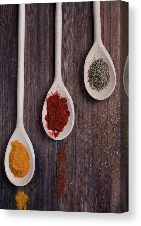 In A Row Canvas Print featuring the photograph Herbs And Spices by Photo By Asri' Rie