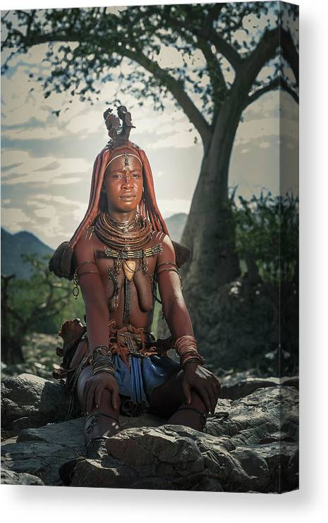 People Canvas Print featuring the photograph Himba Woman With Traditional Hair Dress by Buena Vista Images