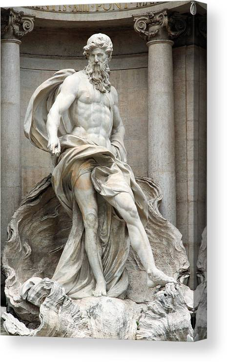 Statue Canvas Print featuring the photograph Italy, Rome, Trevi Fountain, statue of Neptune by James Hardy