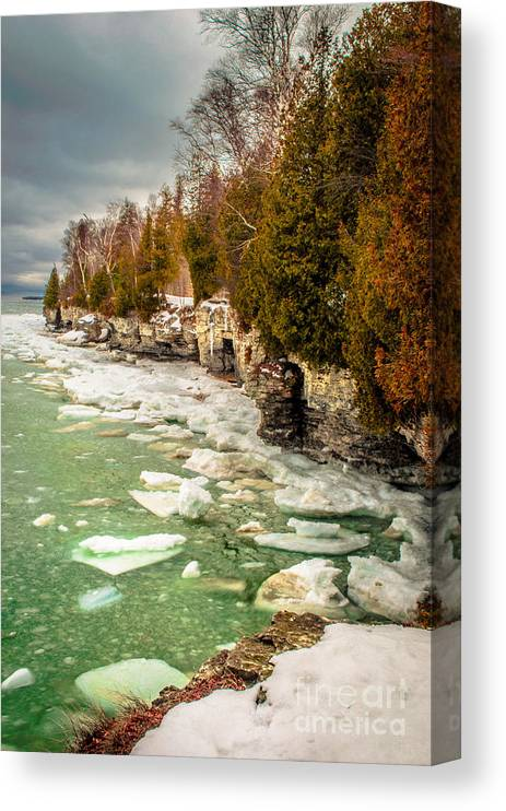 Cave Point Canvas Print featuring the photograph Late Winter At Cave Point by Ever-Curious Photography