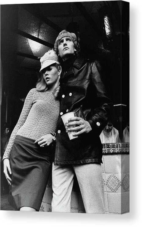 Fashion Canvas Print featuring the photograph Models Posing At A Diner by Horn & Griner