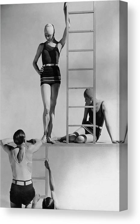 Fashion Canvas Print featuring the photograph Models Wearing Bathing Suits by George Hoyningen-Huene