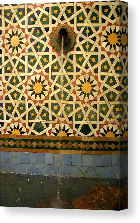Morocco Canvas Print featuring the photograph Moroccan Water Fountain by PIXELS XPOSED Ralph A Ledergerber Photography
