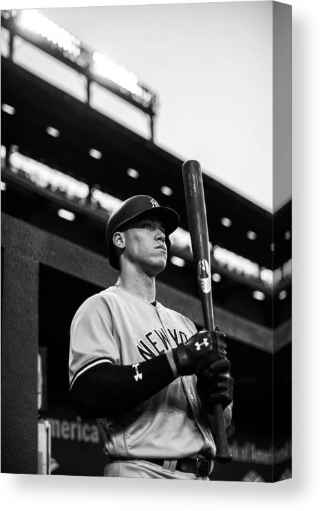 People Canvas Print featuring the photograph New York Yankees v Baltimore Orioles by Rob Tringali/Sportschrome