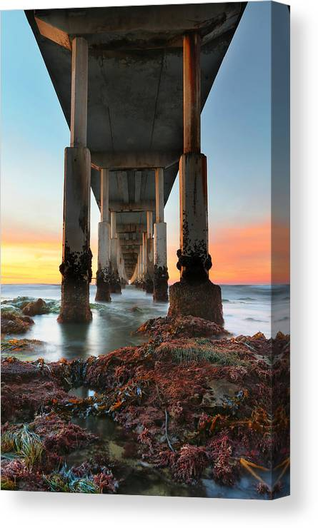 Sunset Canvas Print featuring the photograph Ocean Beach California Pier 2 by Larry Marshall