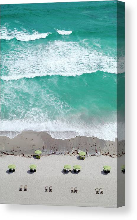 Vacations Canvas Print featuring the photograph Overhead Wide Angle Of The Beach by Bauhaus1000