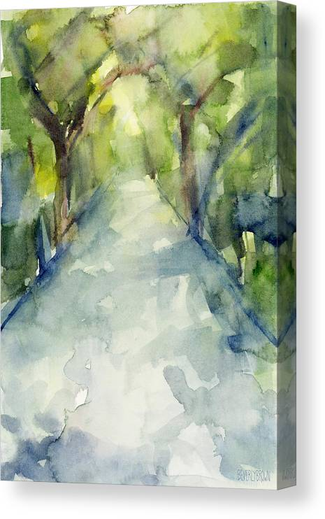 Garden Canvas Print featuring the painting Path Conservatory Garden Central Park Watercolor Painting by Beverly Brown