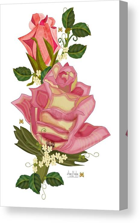 Rose Canvas Print featuring the painting Peach Rose and Bud With Tendrils by Anne Norskog