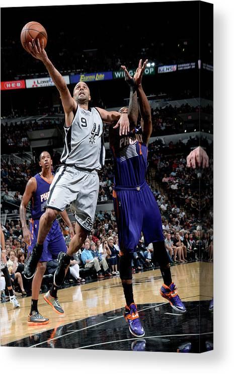 Nba Pro Basketball Canvas Print featuring the photograph Phoenix Suns V San Antonio Spurs by D. Clarke Evans