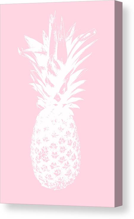 Pineapple Canvas Print featuring the mixed media Pink and White Pineapple by Linda Woods