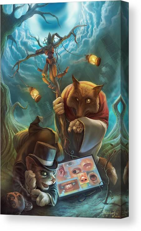 Pinocchio Canvas Print featuring the painting Pinocchio Rewired by Alejandro Dini