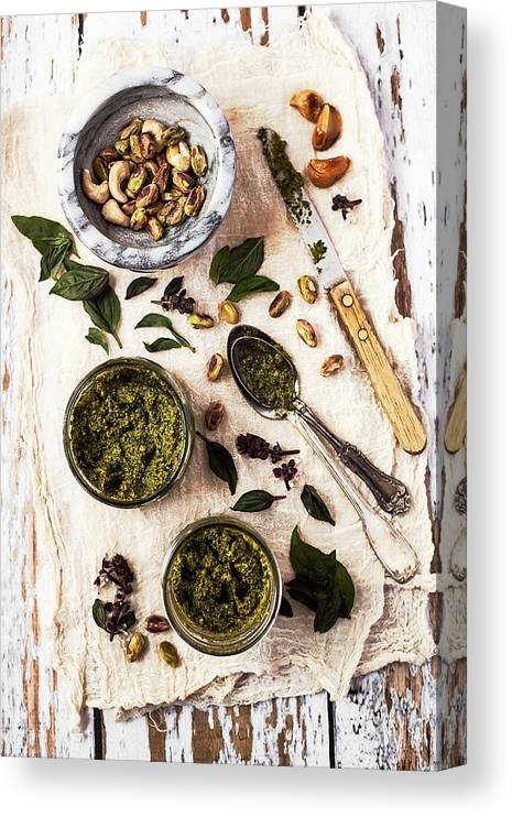 San Francisco Canvas Print featuring the photograph Pistachio Pesto With Mortar, Jars And by One Girl In The Kitchen