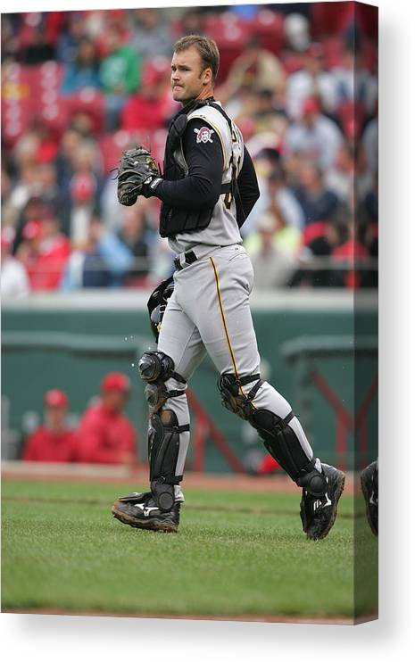 Great American Ball Park Canvas Print featuring the photograph Pittsburgh Pirates v Cincinnati Reds by Andy Lyons