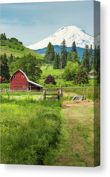 Scenics Canvas Print featuring the photograph Red Barn Green Farmland White Mountain by Fotovoyager