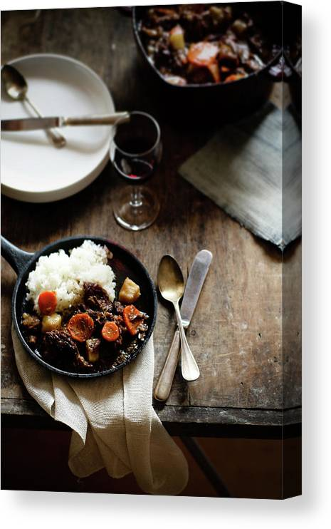 Spoon Canvas Print featuring the photograph Red Wine Braised Beef by 200