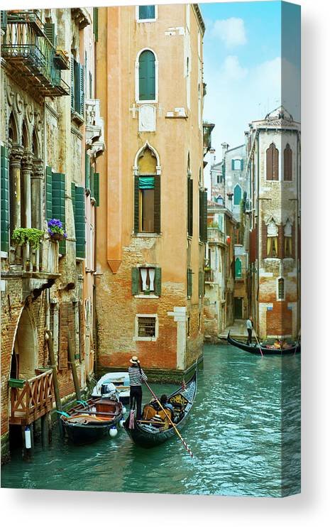 Heterosexual Couple Canvas Print featuring the photograph Romantic Venice Views From Gondola by Caracterdesign