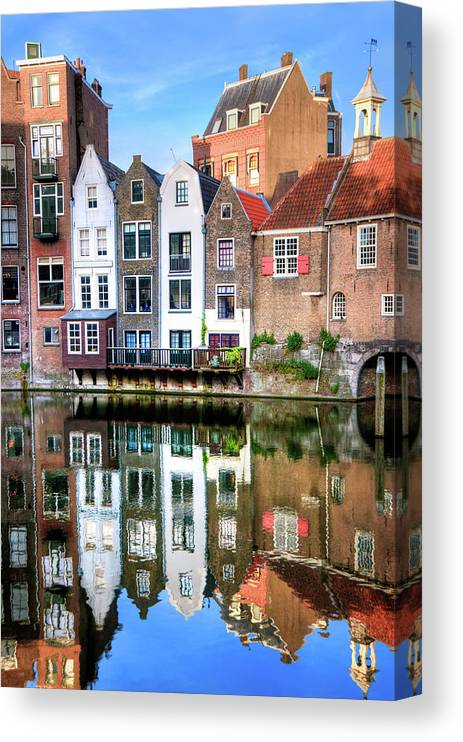 Dawn Canvas Print featuring the photograph Rotterdams Delfshaven With His Historic by Aleksandargeorgiev