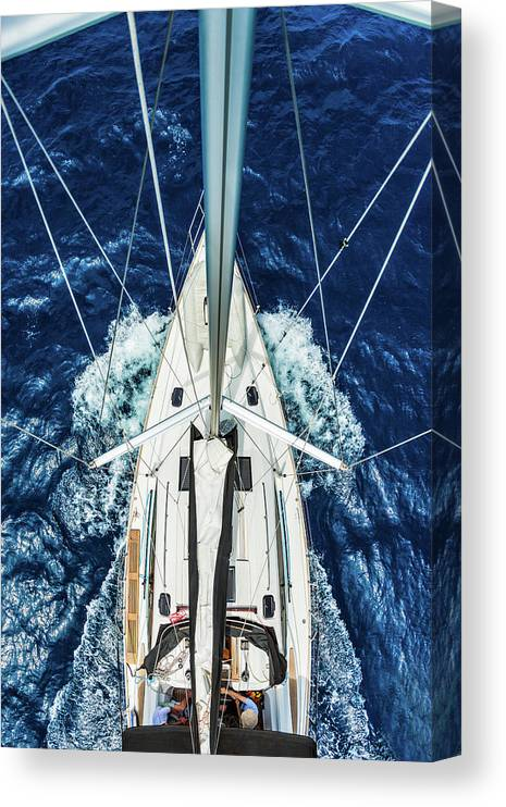 Adriatic Sea Canvas Print featuring the photograph Sailboat From Above by Mbbirdy