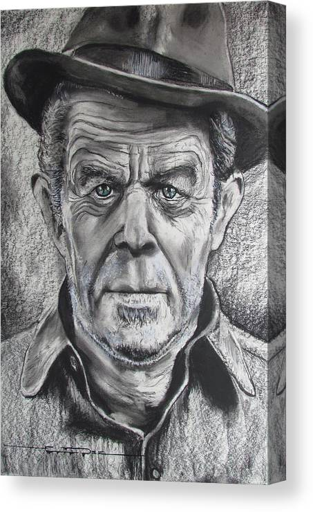 Tom Waits Canvas Print featuring the drawing Small Change for Tom Waits by Eric Dee