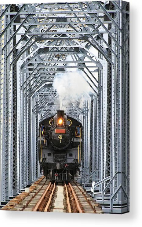 Air Pollution Canvas Print featuring the photograph Steam Train by Peter Hong