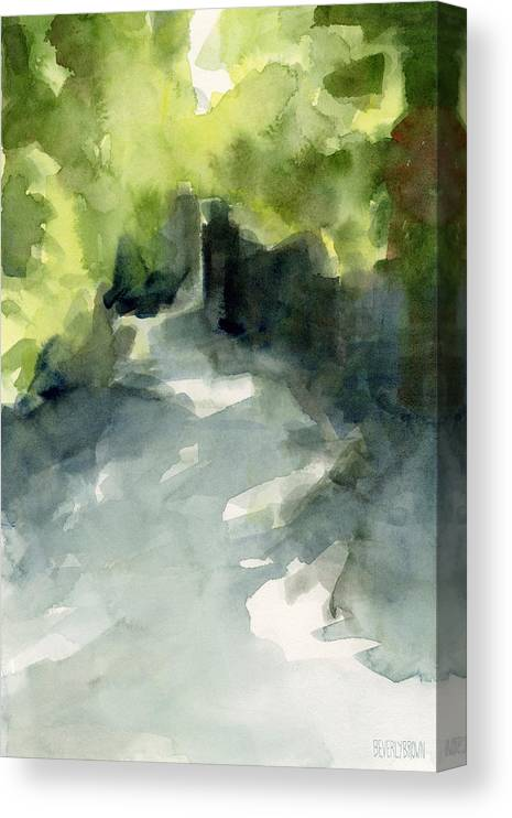 Garden Canvas Print featuring the painting Sunlight and Foliage Conservatory Garden Central Park Watercolor Painting by Beverly Brown