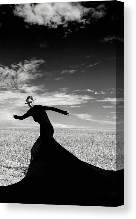 Looking Over Shoulder Canvas Print featuring the photograph The Witch by Funky-data