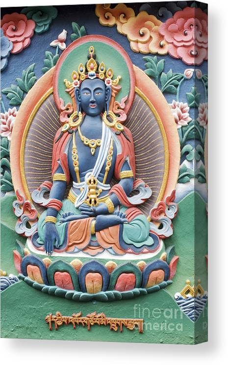 Buddha Canvas Print featuring the photograph Tibetan Buddhist Temple Deity by Tim Gainey