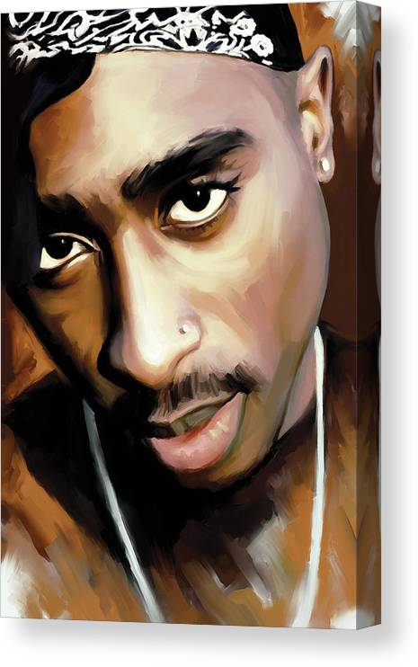 Tupac Shakur Paintings Canvas Print featuring the painting Tupac Shakur by Sheraz A