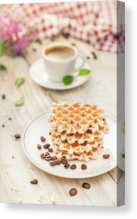 Breakfast Canvas Print featuring the photograph Waffles With Coffee by Da-kuk