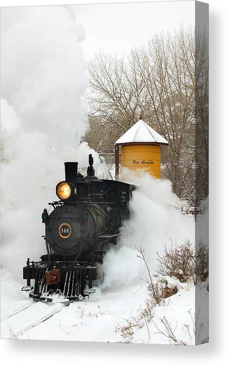 Colorado Railroad Museum Canvas Print featuring the photograph Water Tower behind the Steam by Ken Smith