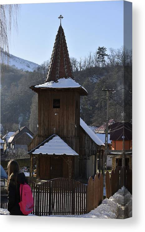 Ancient Canvas Print featuring the photograph Wooden church from Sadu Sibiu county Romania by Adrian Bud