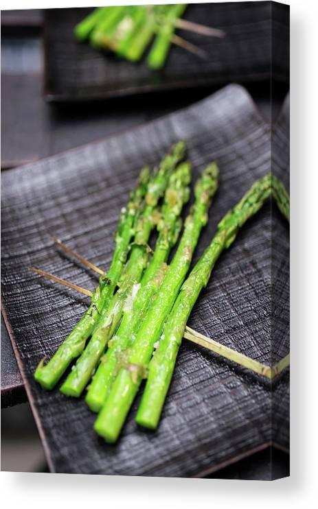 Serving Dish Canvas Print featuring the photograph Yakitori Asparagus by Katya Lyukum